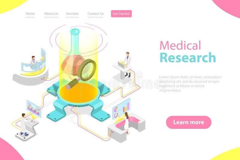 Plantilla plana isométrica de la página del aterrizaje del vector de la investigación médica ilustración del vector