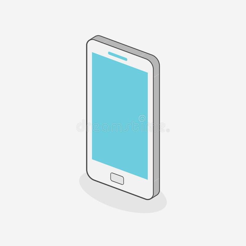 Plantilla plana isométrica del estilo 3D del teléfono del vector ilustración del vector