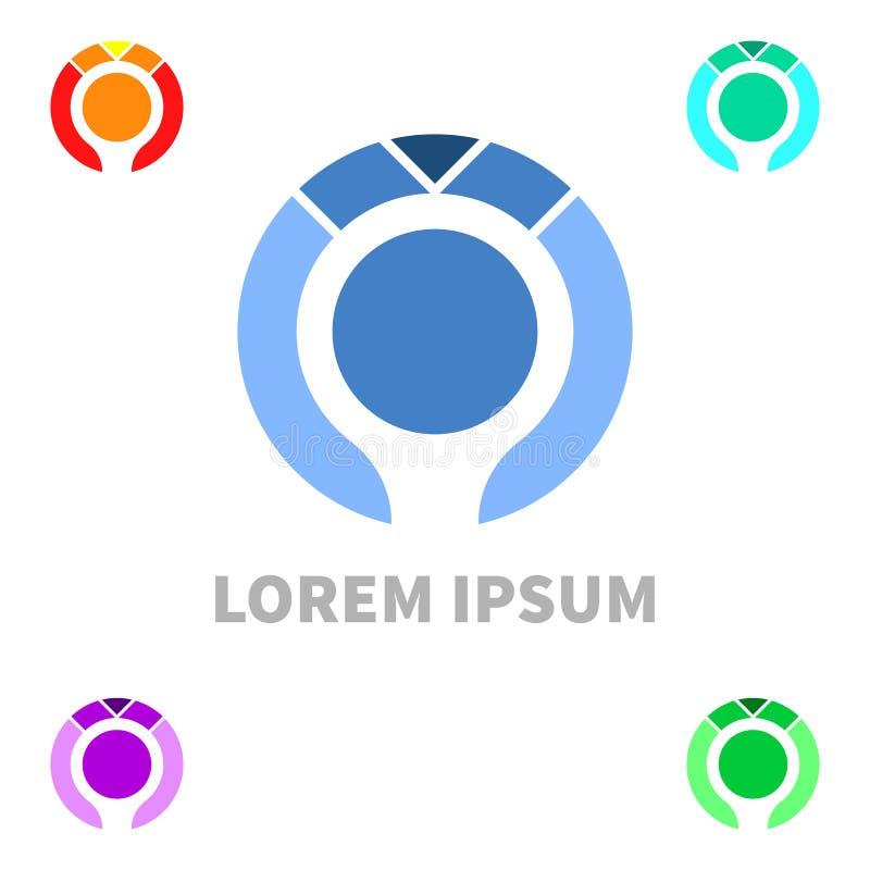 Plantilla plana minúscula del diseño del logotipo de la humanidad Medios icono colorido Idea del concepto del logotipo de Vision stock de ilustración