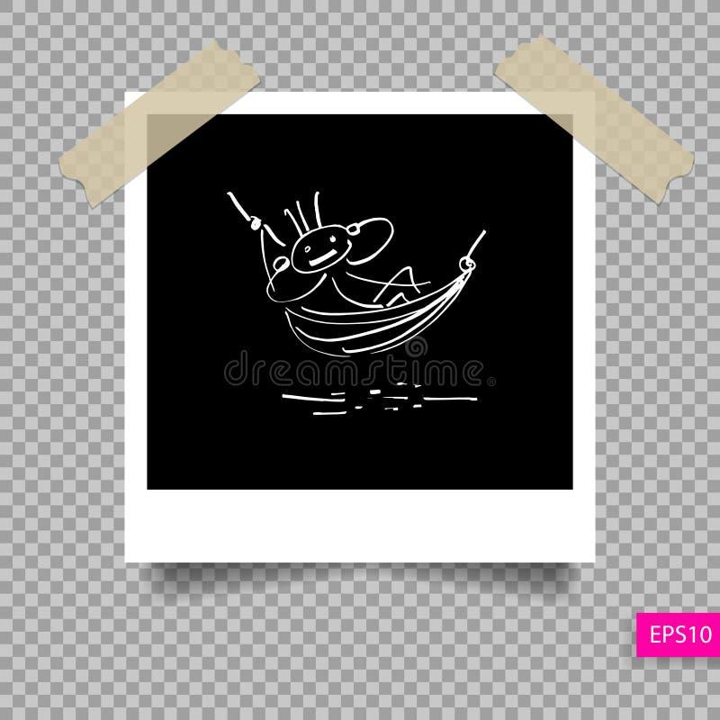 Plantilla polaroid retra del marco de la foto ilustración del vector