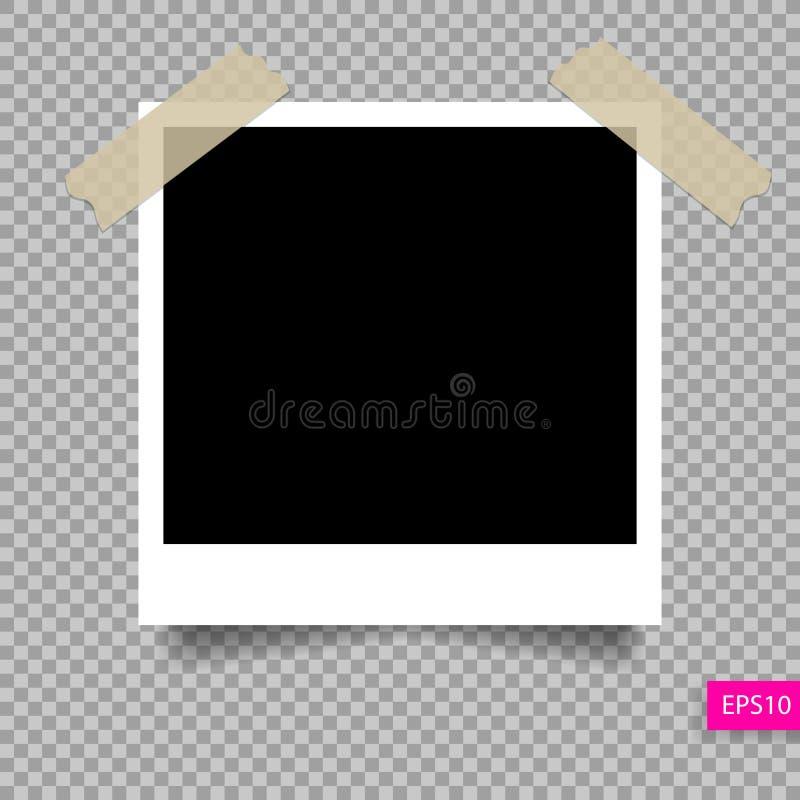 Plantilla polaroid retra del marco de la foto en el perno pegajoso de la cinta ilustración del vector