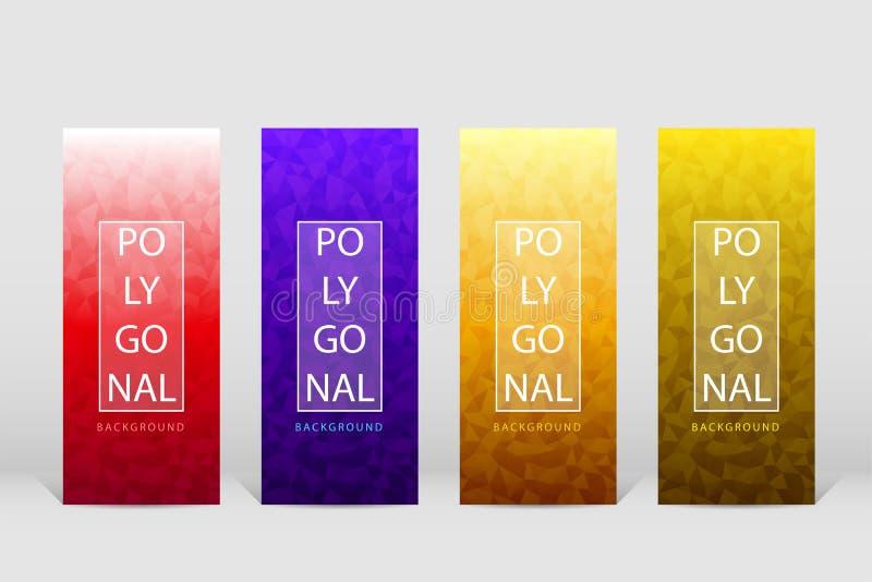 Plantilla poligonal vertical 001 de las banderas stock de ilustración