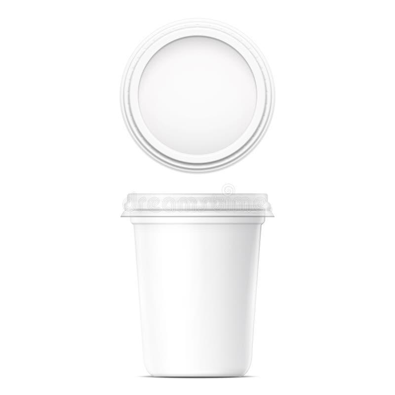 Plantilla poner crema blanca del pote ilustración del vector