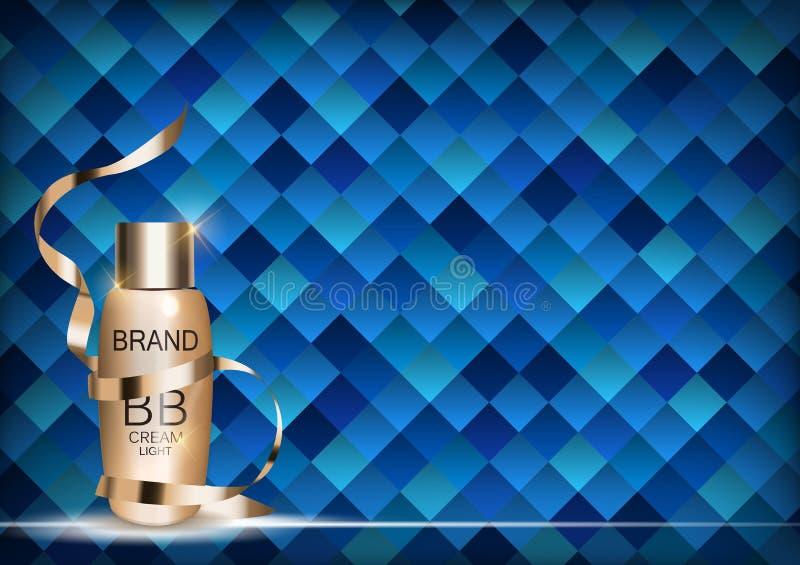 Plantilla poner crema de la botella del BB para los anuncios o el fondo de la revista 3D vector realista Iillustration libre illustration