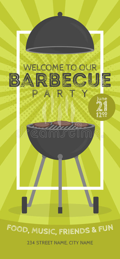 Plantilla preciosa del diseño de la invitación del partido de la barbacoa del vector Diseño de moda del cartel del cookout del Bb stock de ilustración