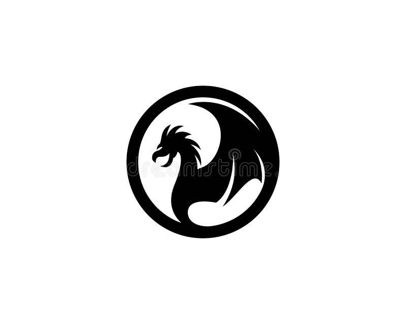Plantilla principal del logotipo del dragón stock de ilustración