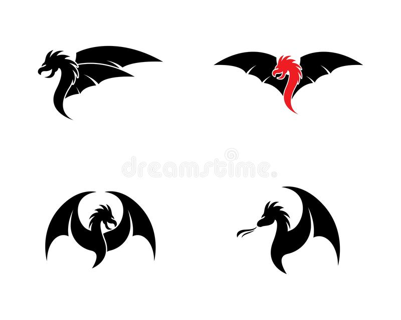 Plantilla principal del logotipo del dragón ilustración del vector