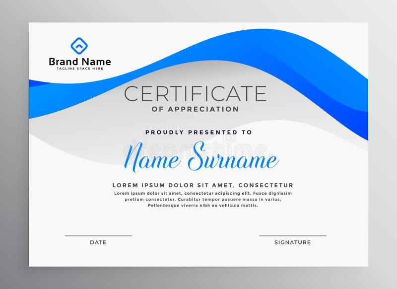 Plantilla profesional azul moderna del certificado ilustración del vector