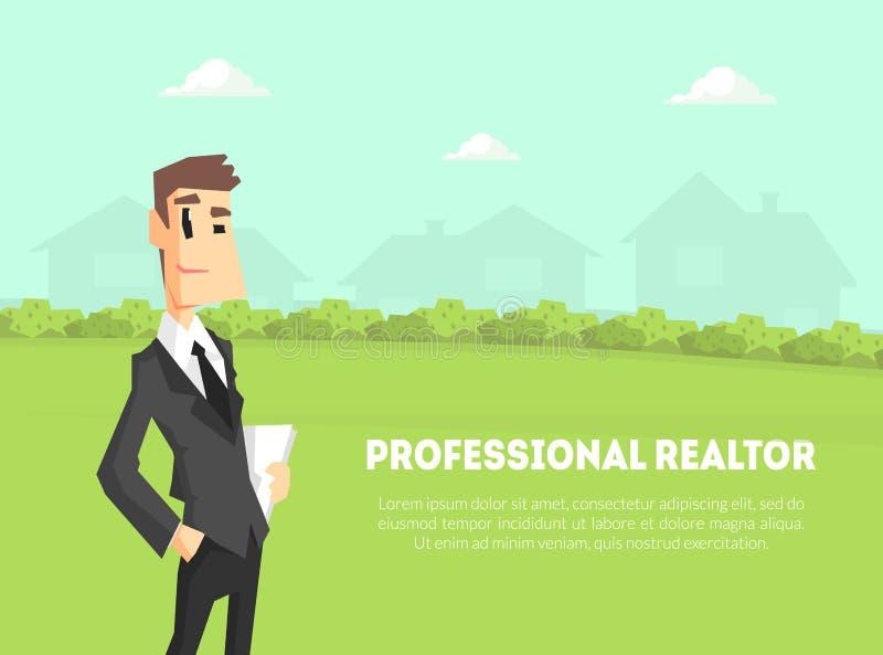 Plantilla profesional de la bandera del agente inmobiliario, hombre de negocios, agente inmobiliario Standing en fondo de la natu libre illustration