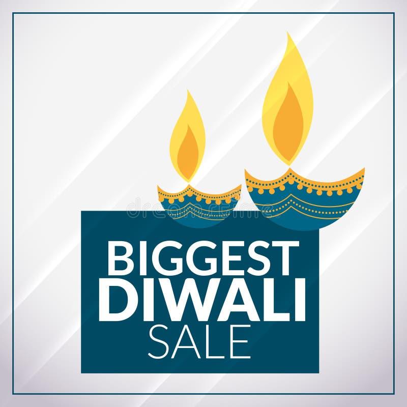 Plantilla promocional de la bandera de la venta más grande del diwali con diya stock de ilustración