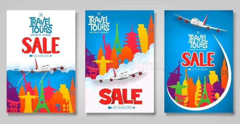 Plantilla promocional de los carteles del viaje y de la venta de los viajes fijada con los iconos famosos coloridos de la señal ilustración del vector