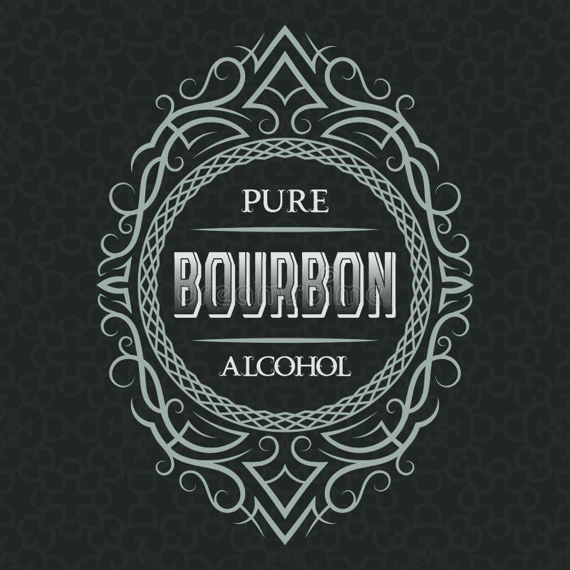 Plantilla pura del diseño de la etiqueta del alcohol de Borbón Marco modelado del vintage con el texto en fondo del modelo stock de ilustración