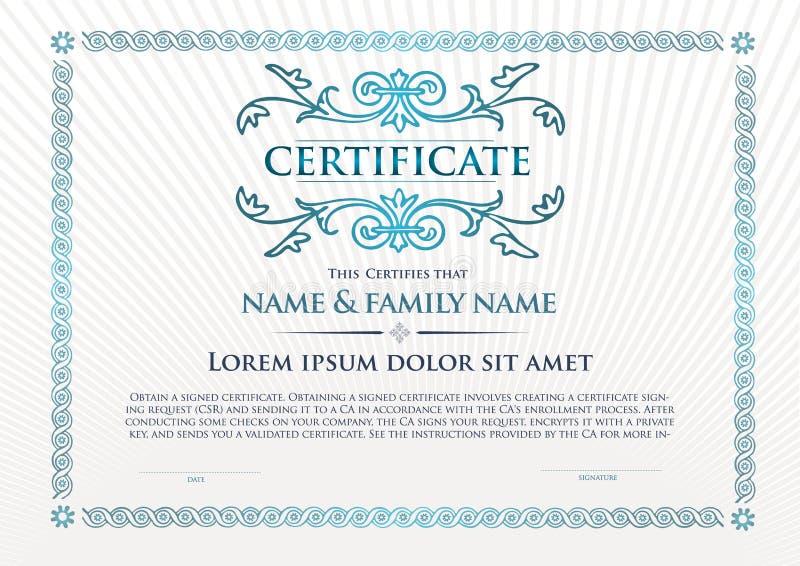 Plantilla que se utiliza en certificado, moneda y diplomas libre illustration