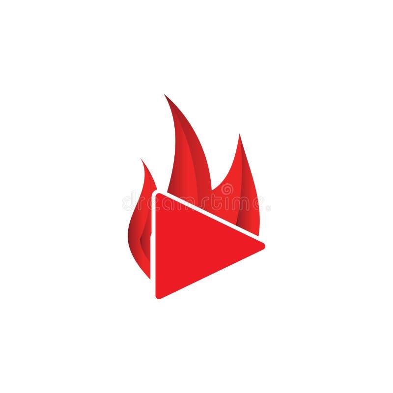 Plantilla quemada del botón de reproducción stock de ilustración