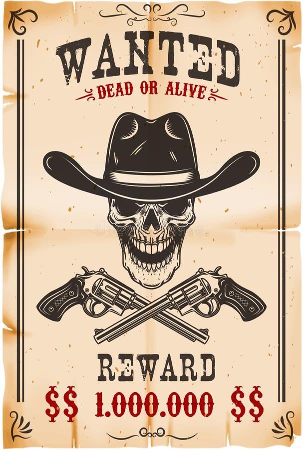 Plantilla querida del cartel Cráneo del vaquero con los revólveres cruzados Elemento del diseño para el cartel, tarjeta, etiqueta ilustración del vector