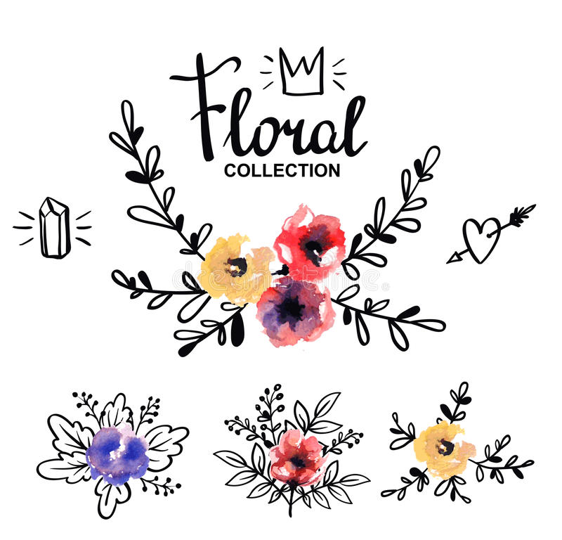 Plantilla rústica del logotipo con las flores y las ramas de la acuarela stock de ilustración