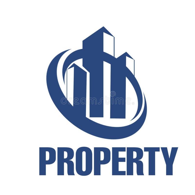 Plantilla real del logotipo del negocio del eastate con el edificio y el círculo púrpuras stock de ilustración