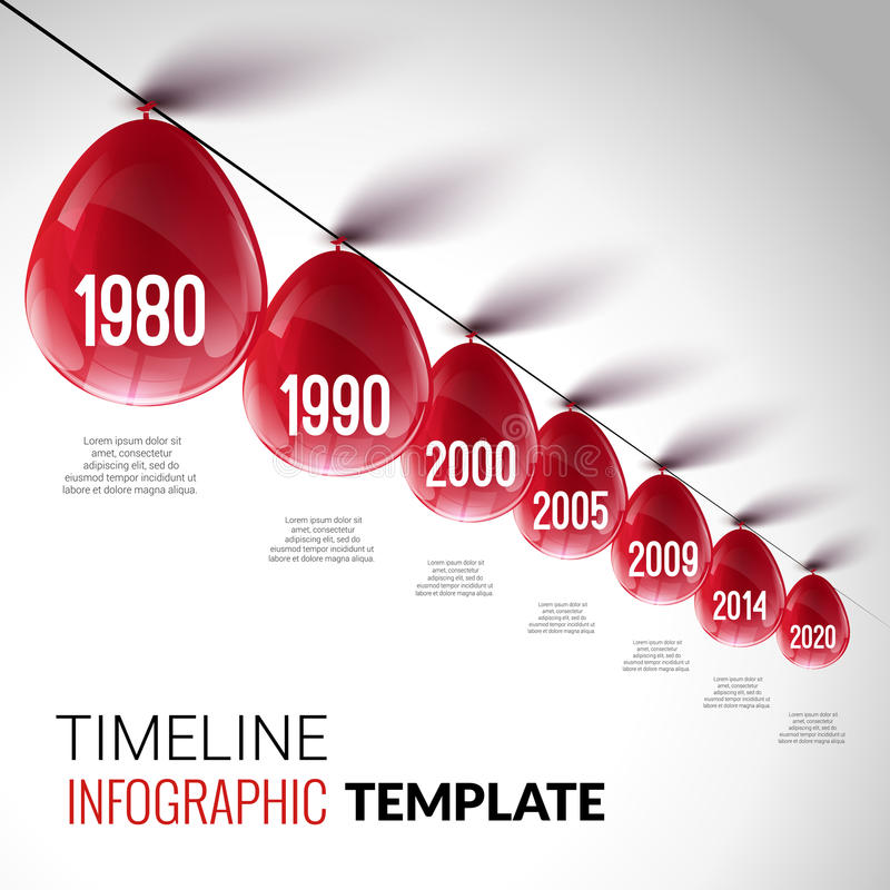 Plantilla realista de la cronología de Infographic con los globos rojos stock de ilustración