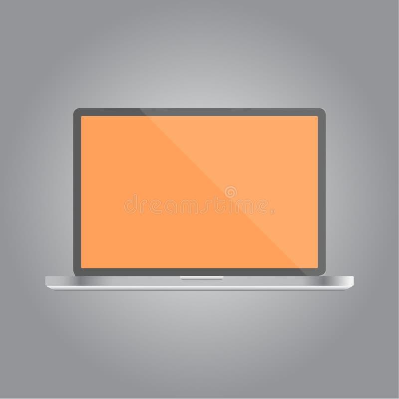Plantilla realista de la maqueta del vector del ordenador portátil fotografía de archivo