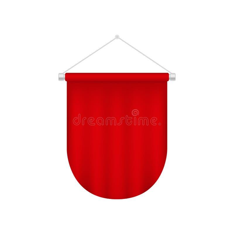 Plantilla realista del banderín del vector Bandera en blanco roja libre illustration