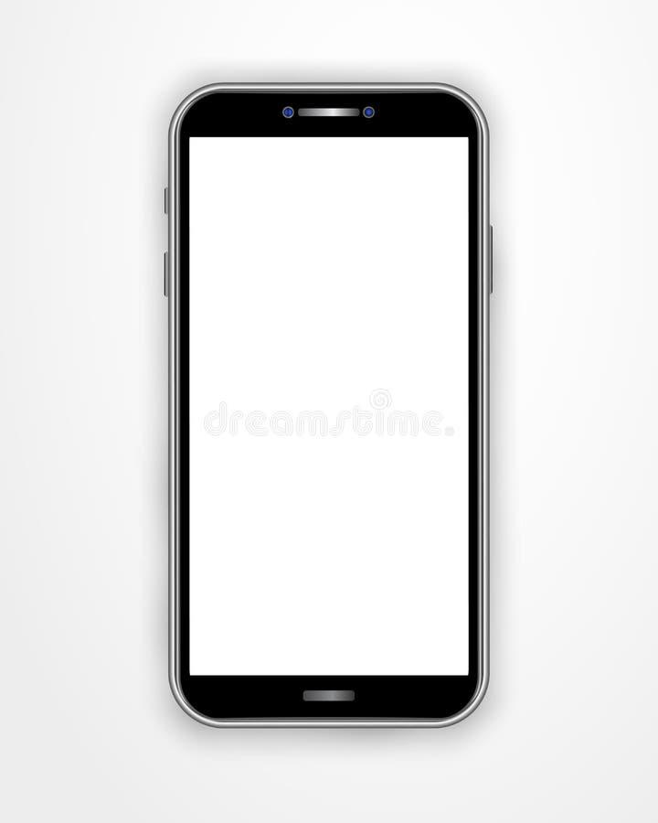 Plantilla realista del smartphone con la pantalla en blanco aislada en el fondo blanco Teléfono móvil móvil de la vista delantera ilustración del vector