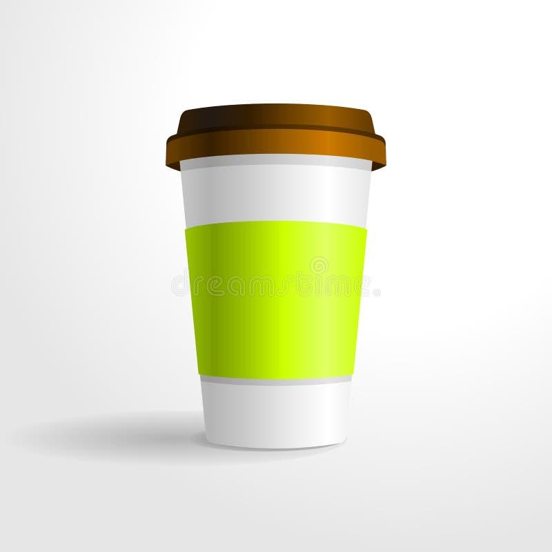 Plantilla realista del vector de la taza de café, para su mofa del diseño para arriba ilustración del vector