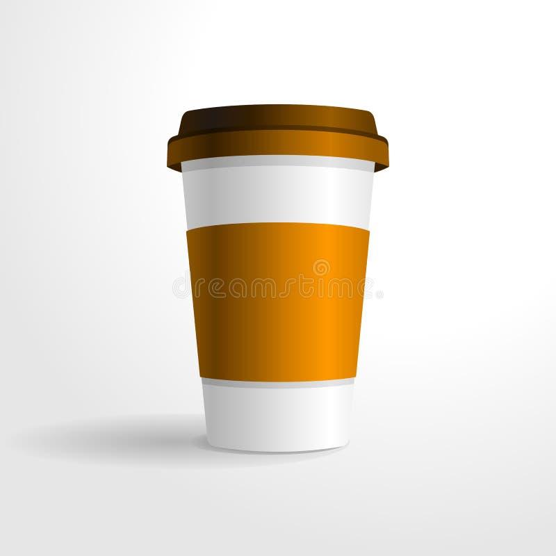 Plantilla realista del vector de la taza de café, para su mofa del diseño para arriba stock de ilustración