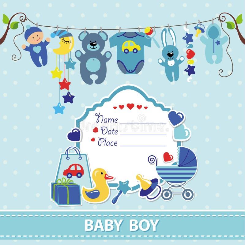 Plantilla recién nacida de la invitación de la ducha de la tarjeta del bebé stock de ilustración