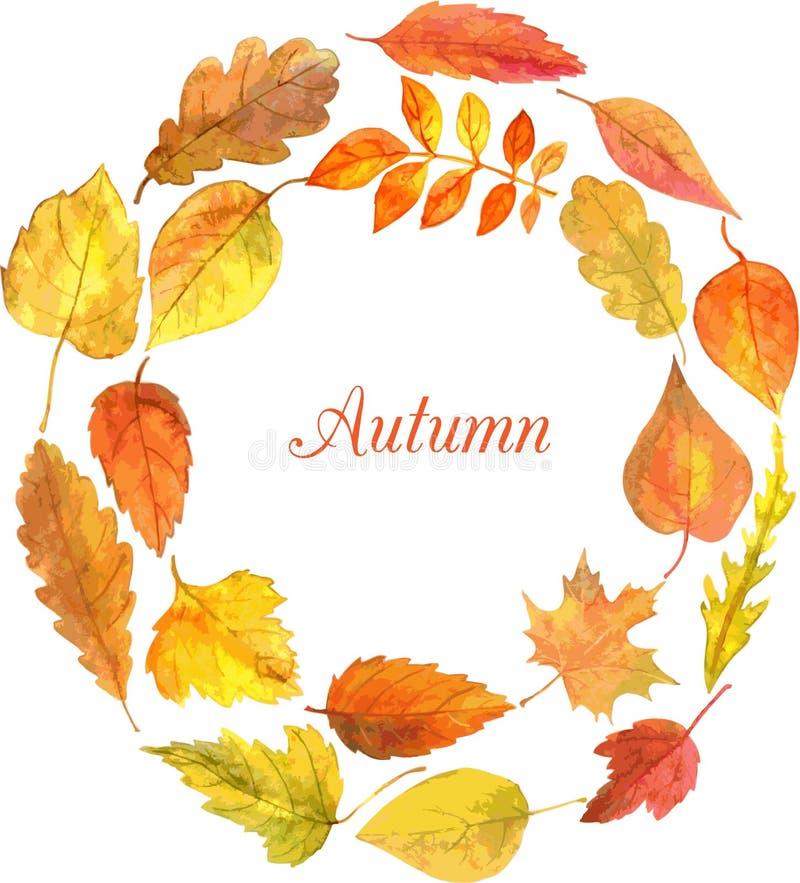Plantilla redonda con las hojas de otoño en acuarela stock de ilustración
