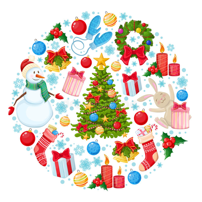 Plantilla redonda con los iconos de la Navidad ilustración del vector