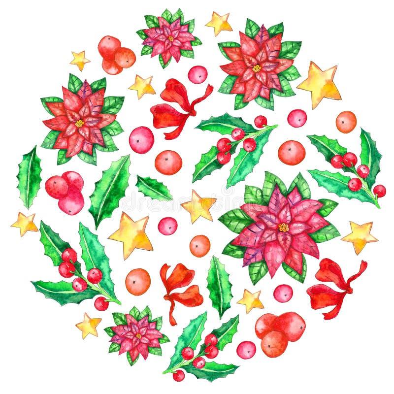Plantilla redonda de la acuarela amo la Navidad ilustración del vector