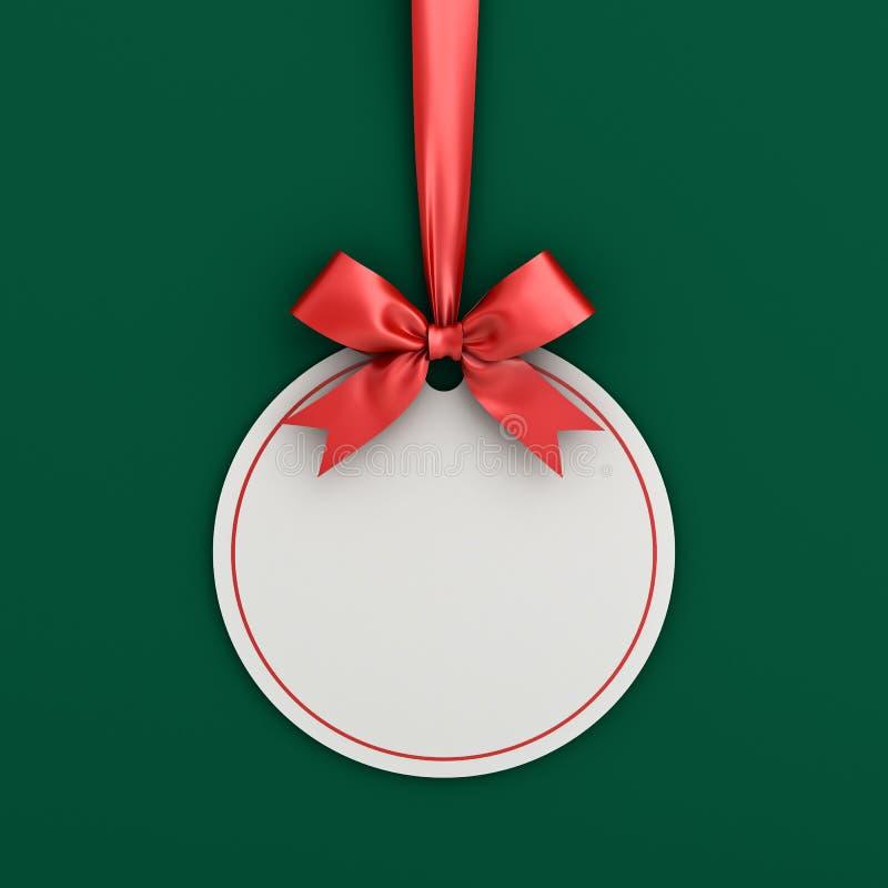 Plantilla redonda de la tarjeta de la etiqueta de la etiqueta del marco de la bola de la Navidad del Libro Blanco del espacio en  fotos de archivo