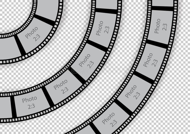 Plantilla redonda del elemento del diseño del remolino del vintage de la tira de la película para la foto libre illustration