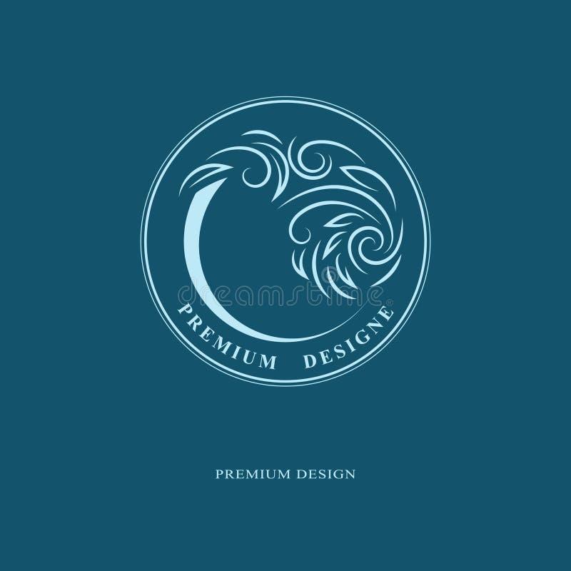 Plantilla redonda del emblema Forma abstracta Diseño del logotipo del arte elegante El monograma firma adentro el concepto floral ilustración del vector