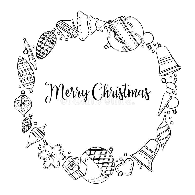 Plantilla redonda del marco Ejemplo exhausto del vector del esquema de la mano de los juguetes de la Navidad Decoraciones del A?o libre illustration