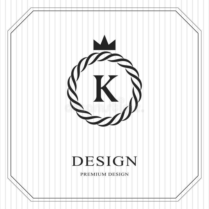 Plantilla redonda del monograma abstracto Modelo inconsútil linear Diseño de lujo elegante moderno del logotipo Emblema K, corona stock de ilustración