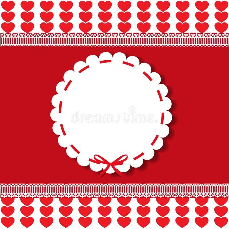 Plantilla redonda del vintage del día de fiesta con la etiqueta engomada y la cinta de encaje stock de ilustración