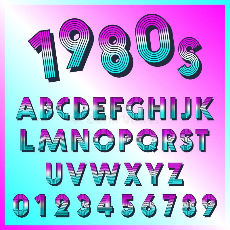 plantilla retra de la fuente 80s Fije de letras y de líneas de números diseño del vintage stock de ilustración