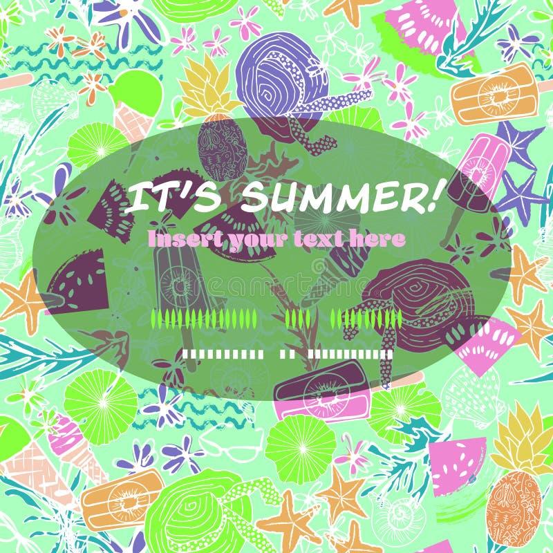Plantilla retra de las vacaciones de la playa del verano con las comidas del verano, los accesorios de la playa y la concha marin libre illustration
