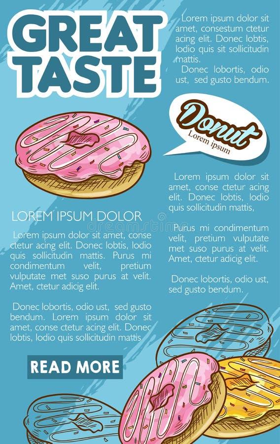 Plantilla retra del cartel del bosquejo del postre de la panadería del buñuelo stock de ilustración