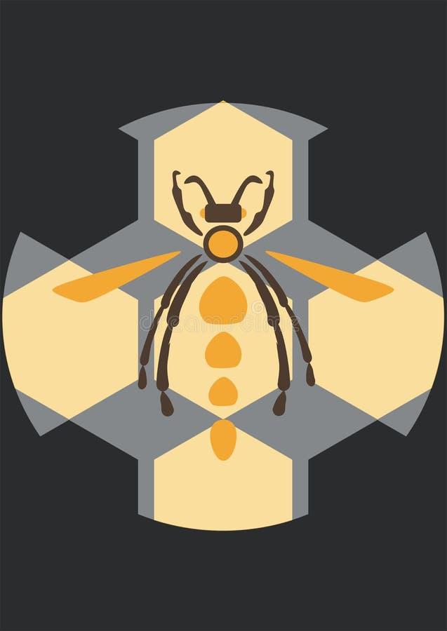 Plantilla retra del cartel de la abeja del vintage ilustración del vector