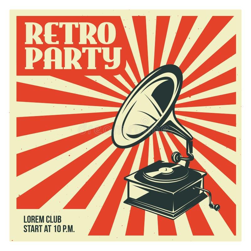 Plantilla retra del cartel del partido con el gramófono viejo Ejemplo del vintage del vector stock de ilustración
