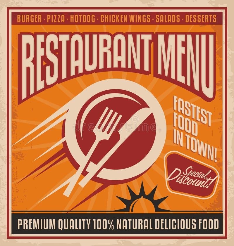 Plantilla retra del cartel para el restaurante de los alimentos de preparación rápida ilustración del vector