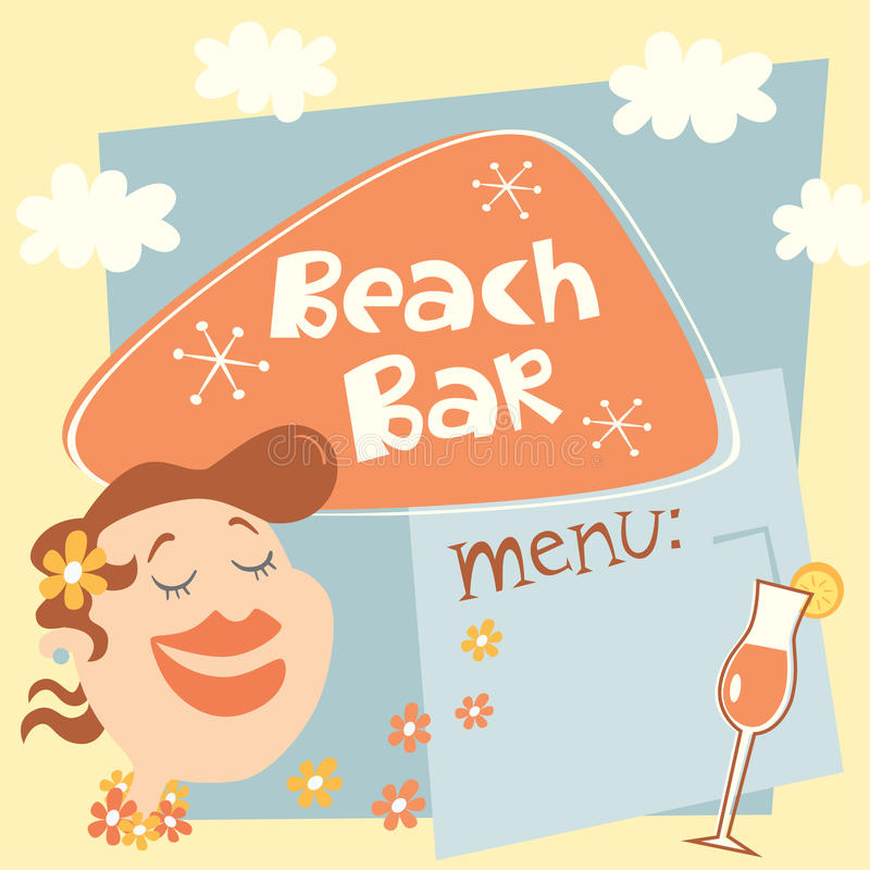 Plantilla retra del cartel para la barra de la playa stock de ilustración