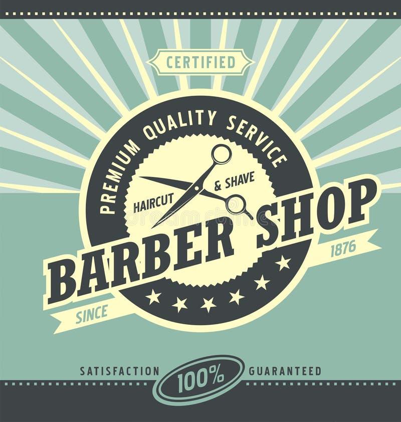 Plantilla retra del diseño del cartel de la peluquería de caballeros stock de ilustración