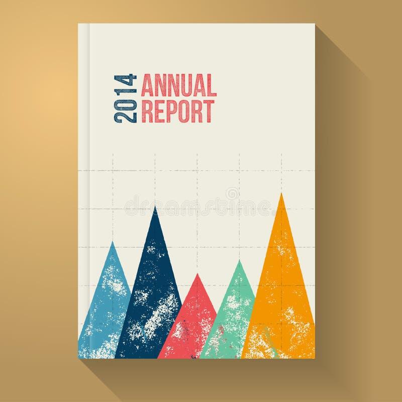 Plantilla retra del folleto del informe anual con el gráfico del Grunge imágenes de archivo libres de regalías