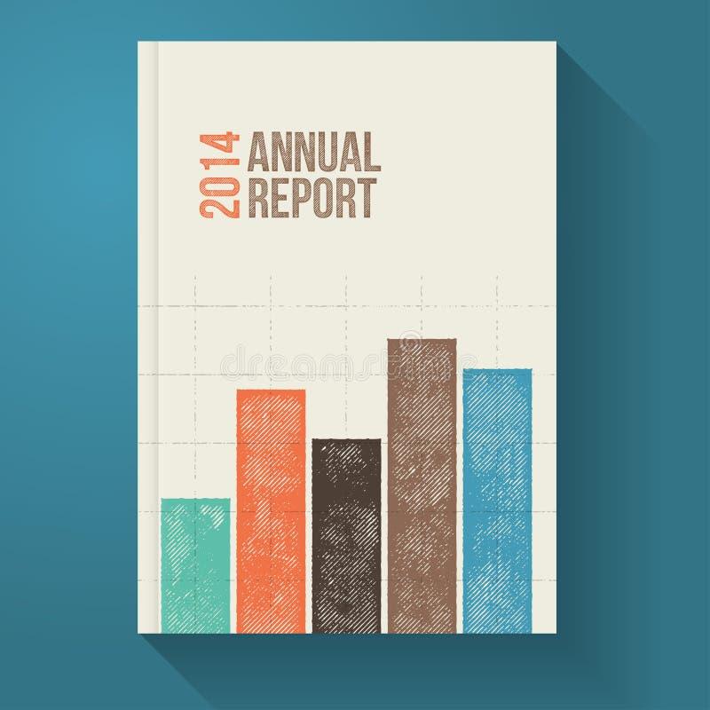 Plantilla retra del folleto del informe anual con el gráfico del Grunge imagen de archivo