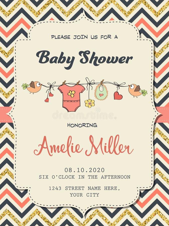 Plantilla retra hermosa de la tarjeta de la fiesta de bienvenida al bebé con brillar de oro stock de ilustración
