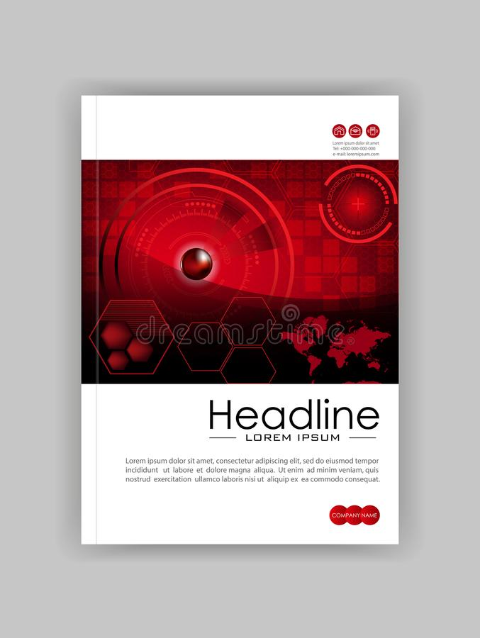 Plantilla roja de A4 HUD Business Book Cover Design Bueno para Portfol libre illustration