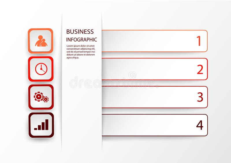 Plantilla roja de Infographic con 4 opciones, pasos o procesos Vector la disposición para el infographics del negocio con los ico stock de ilustración